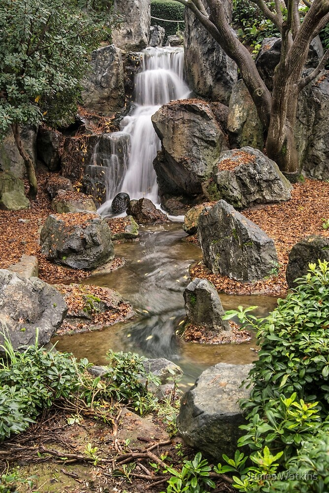 Japanese Friendship Garden Waterfall by James Watkins