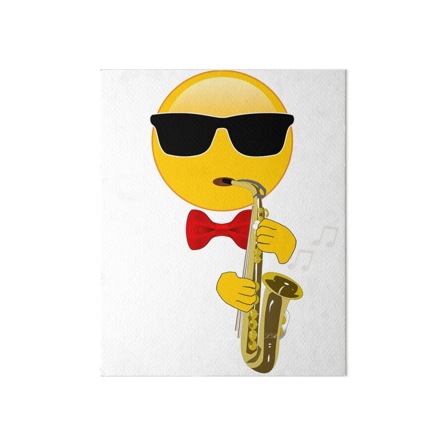 Gift for Saxophone Player Emoji Playing Sax\
