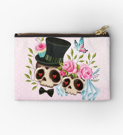 Together Forever - Sugar Skull Bride & Groom Zipper Pouch