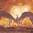 Lodge décor - Territorial Dance in the African sunset by Maree Clarkson