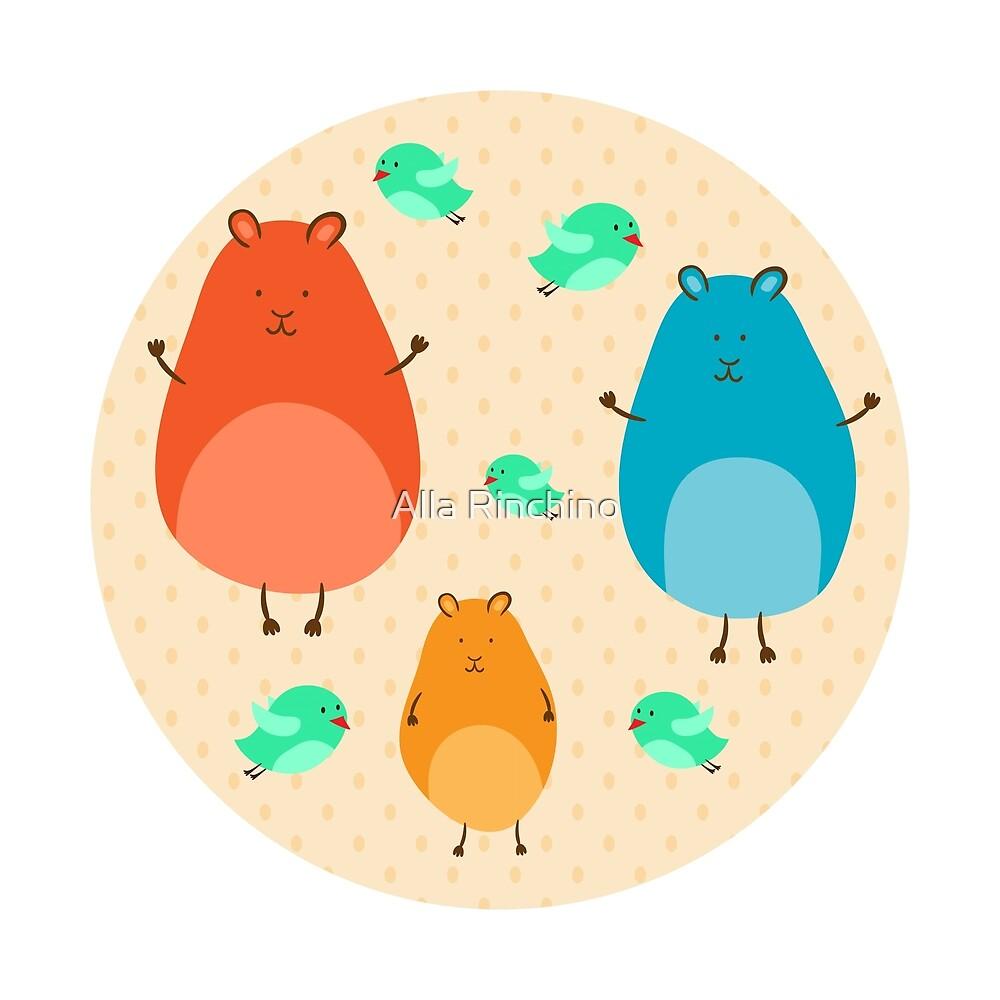 Cartoon funny hamsters by Alla Rinchino