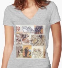Lodge décor - South Africa's wildlife wonders Women's Fitted V-Neck T-Shirt