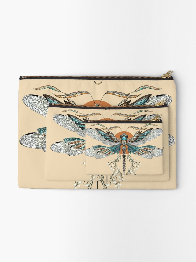 Alternate view of Dragon Fly Tattoo Zipper Pouch
