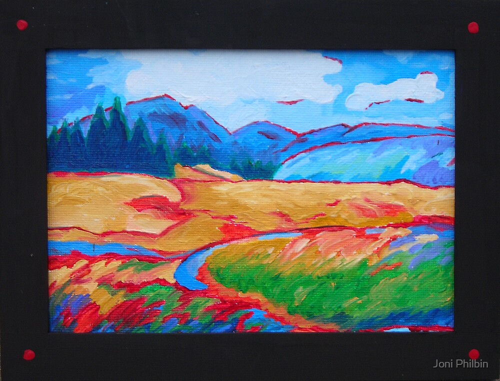 Red trimmed mountains by Joni Philbin