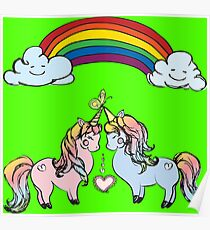 Couple of unicorns and rainbow Poster