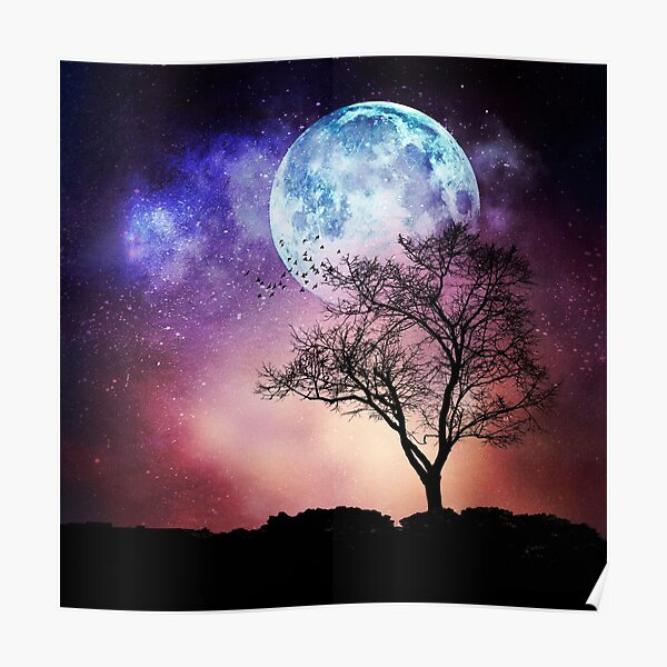 Moon Tree - Magical Night Scene with Tree and Full Moon Poster