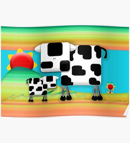 Moo Cow Sunrise Family Poster