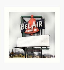 bel air drive-in, route 66, illinois Art Print
