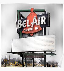 bel air drive-in, route 66, illinois Poster