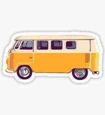 Yellow Vintage Volkswagen Bus Sticker