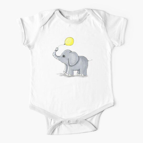 Yellow Balloon Elephant Short Sleeve Baby One-Piece