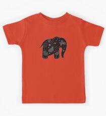 black embroidered elephant Kids Tee