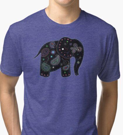 black embroidered elephant Tri-blend T-Shirt