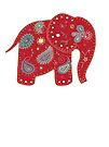Red embroidered elephant by Karin Taylor