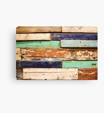 Old, grunge wood panels of used colourful wood pieces  Canvas Print