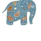 blue embroidered elephant by Karin Taylor