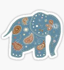 blue embroidered elephant Sticker