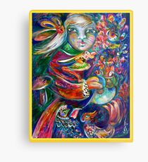 Orphan Child with Flowers Metal Print
