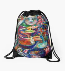 Orphan Child with Flowers Drawstring Bag