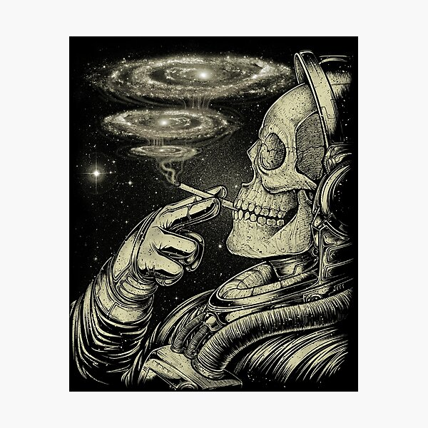 Winya No. 31 Relaxing Skeleton Astroanut Smoking Amoung the Stars in the Space Photographic Print