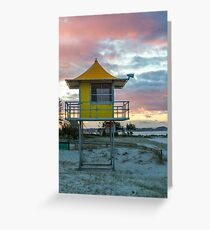 Lifeguard tower and beach Greeting Card
