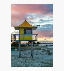 Lifeguard tower and beach Photographic Print