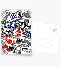 Travel Destination Passport Stamps Postcards