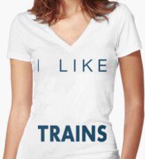 Rail King, I like trains Women's Fitted V-Neck T-Shirt