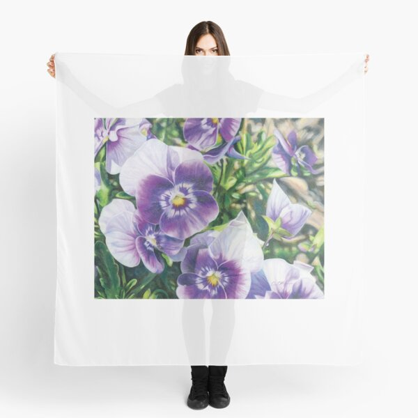 Purple and White Pansies Scarf