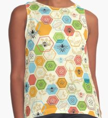 Bees and Flowers Honeycomb Garden with Colorful Hexagons Contrast Tank