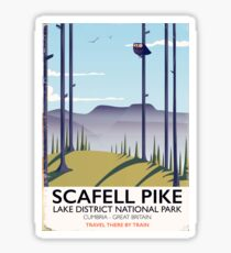Scafell Pike, Cumbria, Vintage travel poster Sticker