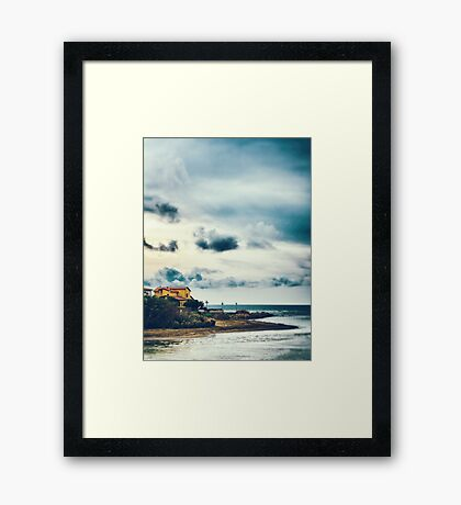 Sea, beach, house Framed Print