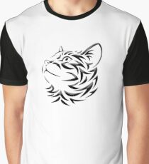 Cat, Tribal Cat, Cat looking Up, Feline, Puss, Pussy Graphic T-Shirt