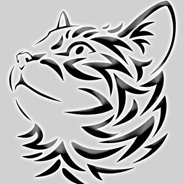 Cat, Tribal Cat, Cat looking Up, Feline, Puss, Pussy, on GREY by TOMSREDBUBBLE