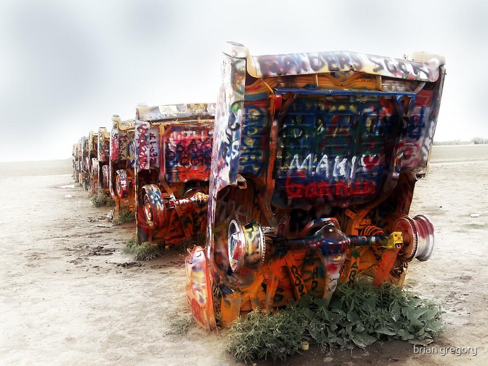 cadillac ranch, route 66, amarillo, texas by brian gregory