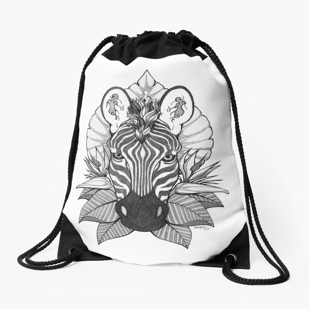 Zebra & Jungle Leaves Drawstring Bag