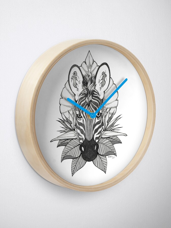 Alternate view of Zebra & Jungle Leaves Clock