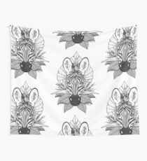 Zebra & Jungle Leaves Wall Tapestry