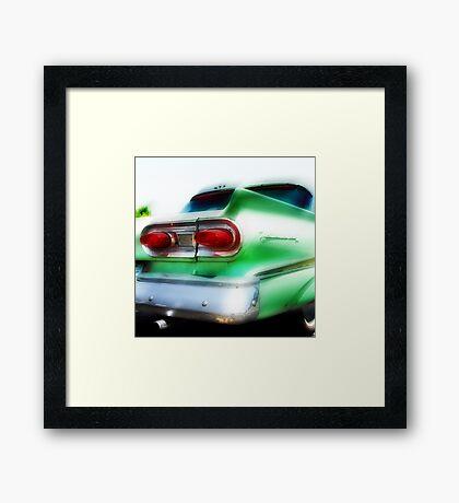 green ford fairlane, route 66, oklahoma city, oklahoma Framed Print