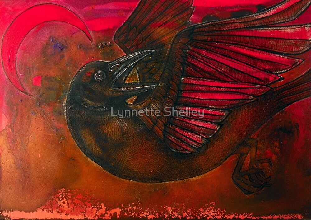Crescent Moon Crow by Lynnette Shelley