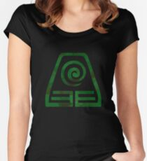 Watercolor Earth Kingdom Symbol (on black) Women's Fitted Scoop T-Shirt