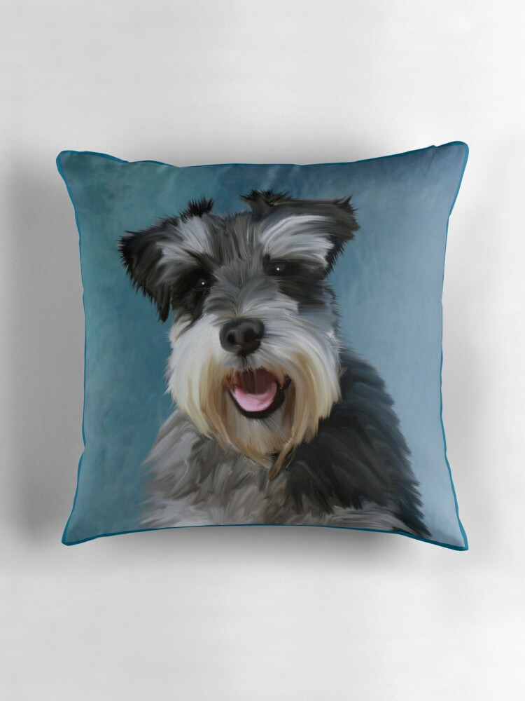 Quot Miniature Schnauzer Dog Water Color Art Painting Quot Throw