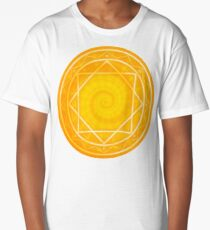 Strange magic circle, orange glowing mandala Long T-Shirt