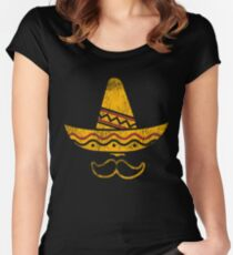Cinco De Mayo Party Mustache Mexican Hat Funny T Shirt Tee Women's Fitted Scoop T-Shirt