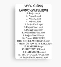 Video Editing Naming Conventions Metal Print