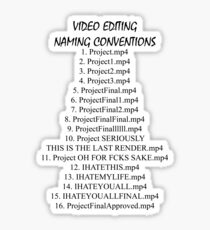 Video Editing Naming Conventions Sticker