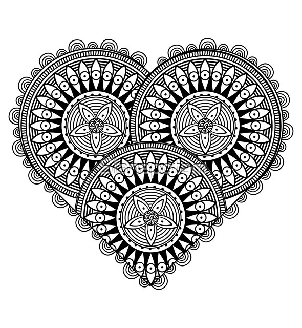 Detailed decorated heart in black and white by Slanapotam