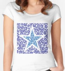 blue floral star Women's Fitted Scoop T-Shirt