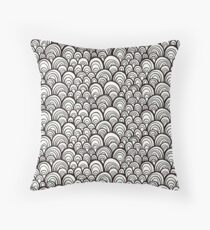 Black and white scale ornamental pattern Throw Pillow