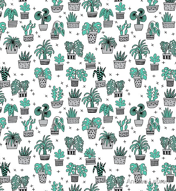 Houseplant minimal illustration drawing pattern by andrea lauren houseplants by Andrea Lauren Design by Andrea Lauren